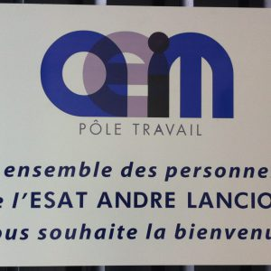 panneau personnalisé à destination des visiteur de l'AEIM André Lanciot