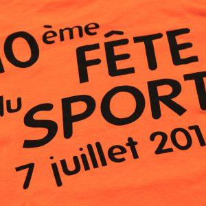 tee shirt personnalisé pour la 10éme fête du sport