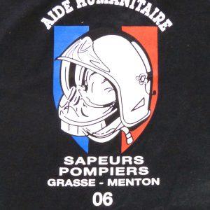 tee shirt personnalisé pour de l'aide humanitaire des sapeurs pompiers de Menton