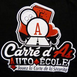 tee shirt personnalisé pour l'auto école Carré d'AS